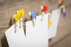 Card on clothespins hanging on the rope Stock Photo
