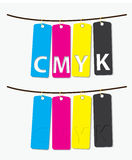 CMYK. A card of CMYK color in printing system stock illustration