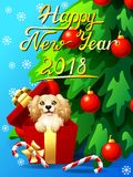 Card Cocker Spaniel in a gift box and fir. Gift card with an inscription of Happy New year 2018, a dog in a box, a fir-tree with jewelry and a Candy cane. A Royalty Free Stock Images