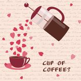 Card with coffee and hearts Royalty Free Stock Photos