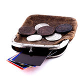 Card coin purse. Old purse and new credit cards Stock Photography