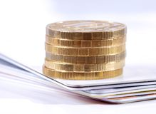Card and coins Stock Images