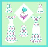 Card with collection of elegant female and baby dresses with tulip flowers. Royalty Free Stock Photography