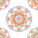 Card with colored circular floral ornament  Royalty Free Stock Image