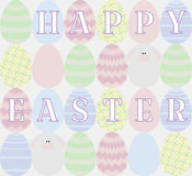Card with Colored Eggs. And funny rabbits, text Happy Easter Stock Images