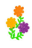 Card with colored flowers. As applique Stock Images