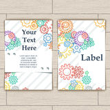 Card with Colorful Background Bector Gears Royalty Free Stock Photography