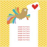 Card with colorful bird in love Royalty Free Stock Photography