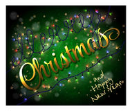 Card with colorful Christmas lights Stock Photo