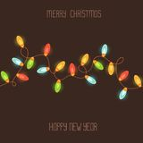 Card with colorful christmas lights Stock Image