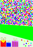 Card with colorful confetti and gifts Royalty Free Stock Images