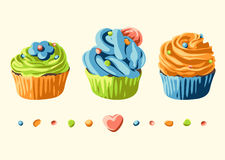 Card with colorful cupcakes and decorations. Set with pastries Stock Image