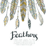Card with colorful feathers. Beautiful hand-drawn background for invitations Stock Photography