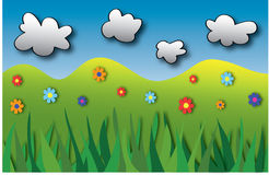 Card with colorful flowers, grass and clouds Royalty Free Stock Images