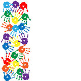 Card with colorful handprints on the white background. Card with colorful handprints on a white background Stock Photo