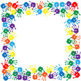 Card with colorful handprints on the white backgro stock illustration
