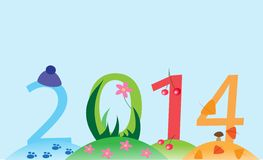 Card 2014 with colorful numbers. Card with  abstraction  depict the seasons of 2014 year Stock Photography