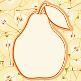Card with colorful pears. Sliced in half with seed. Ideal for posters, advertisements, announcements, labels, banner, menu for cafe and restaurants. Vector Stock Photos