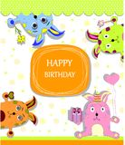 Card with colorful rabbits for life events Stock Photography