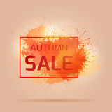 Card with colorful splashes,. Autumn sale Royalty Free Stock Photos