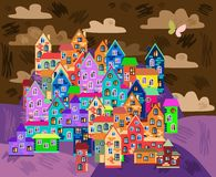 Card with colorful town at night. Cute bright houses on the hills. Cartoon vector illustration Royalty Free Stock Photos