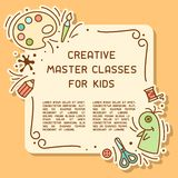 Card concept of kids creative master classes info poster with sample text. Suitable for advertisement or information banner decor vector illustration