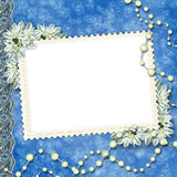 Card for congratulation. With pearls and bunch of flower Royalty Free Stock Image