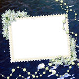 Card for congratulation. With pearls and bunch of flower Stock Photography