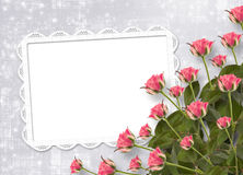 Card for congratulation with bunch of flowers. Card for congratulation or invitation with bunch of flowers Royalty Free Stock Images