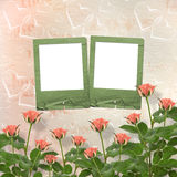 Card for congratulation with frames and pink roses Royalty Free Stock Photos