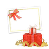 Card for congratulation with gift boxes Stock Images