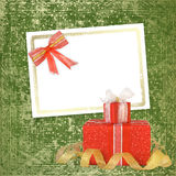 Card for congratulation with gift boxes Royalty Free Stock Image