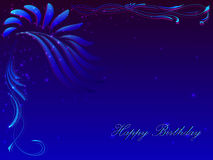 Card with a congratulation happy birthday in dark blue tones. Card with a congratulation happy birthday with a floral ornament in the upper left corner in dark Stock Illustration
