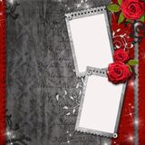 Card for congratulation or invitation. With  red roses, lace, text Royalty Free Stock Photo