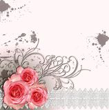 Card for congratulation or invitation. With roses Royalty Free Stock Photos