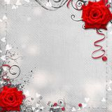 Card for congratulation or invitation. With hearts and red roses Stock Photo