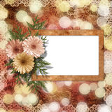 Card for congratulation or invitation. With flower on abstract background Stock Image