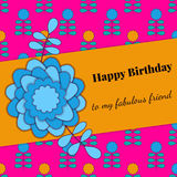 Card for congratulation or invitation. happy Birthday. decorated with flowers Stock Photo