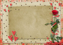 Card for congratulation or invitation with hearts Stock Image