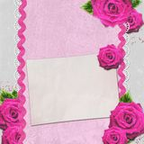 Card for congratulation or invitation with roses Stock Images