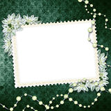 Card for congratulation with pearls. And bunch of flower Royalty Free Stock Photos