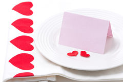 Card for congratulation on a plate for Valentine's Day Royalty Free Stock Photo
