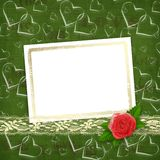 Card for congratulation with red rose and hearts Royalty Free Stock Image