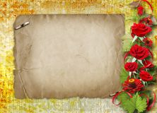 Card for congratulation with red roses Royalty Free Stock Images
