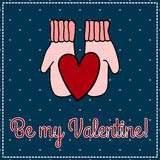 Card congratulation to the day of Valentine heart in mittens. Be my Valentine Stock Photos