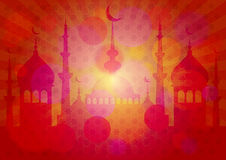 Card for congratulations with beginning of fasting month of Ramadan Stock Images