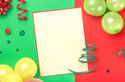 Card with copy space with holiday items on colorful background Stock Images