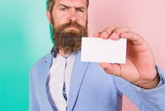 Card copy space professional occupation position. Feel free contact me. Bearded hipster serious face show card. Banking royalty free stock image