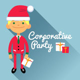 Card corporate party, the men in the New Year, Christmas costumes. The boy on blue background and inscription. Vector illustration of a flat design Royalty Free Illustration