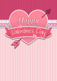 Card cover with message: Happy Valentines Day on a red heart surrounded with pink ribbon on a pink background. Vector image Royalty Free Stock Photography